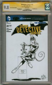 Detective Comics #20 CGC 9.8  Signature Series Signed Mike Perkins Catwoman Sketch DC comic book